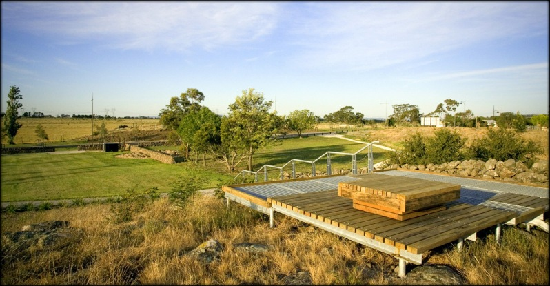 Beautifully designed 'cues to care' at Aurora grassland in Epping. One of the great photos in Start with the Grasslands by Adrian Marshall. Photo © James Newman, courtesy MDG Landscape Architects.