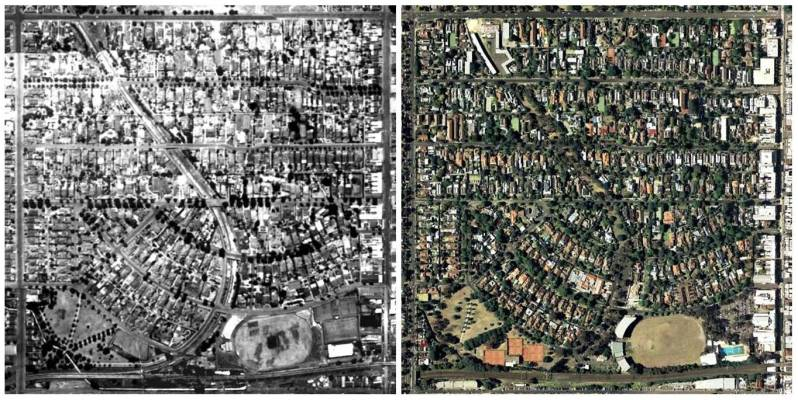 Greening the suburbs. Hawthorn Melbourne in 1945 and 2009.