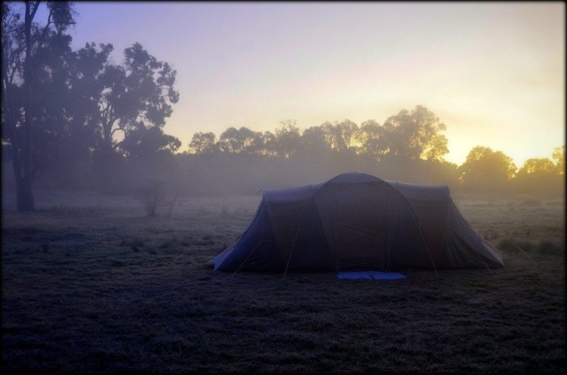 tent in frost